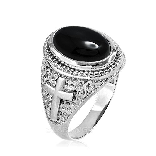14K White Gold Black Onyx Gemstone Religious Cross Ring (9.75)