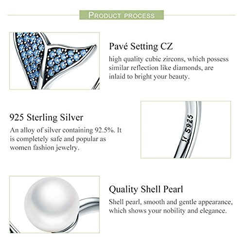 Forever Queen Mermaid Tail Ring, S925 Sterling Silver Dolphin Tail Adjustable Finger Ring for Women Girls Open Ring with Blue Cubic Zirconia& Shell Pearl BJ09067 by Forever Queen (Image #2)