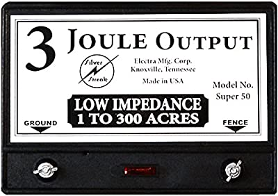 Silver Streak Super 50 Mile 3 Joule Fence Charger / Free Lightning Diverter