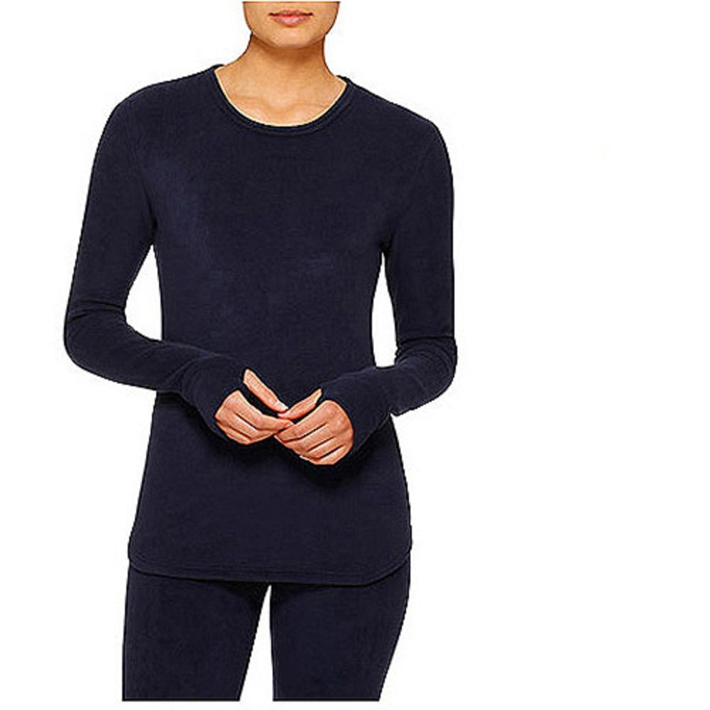 ClimateRight by Cuddl Duds Women's Stretch Fleece Long Sleeve Crew Top / Shirt (L, Deep Navy)