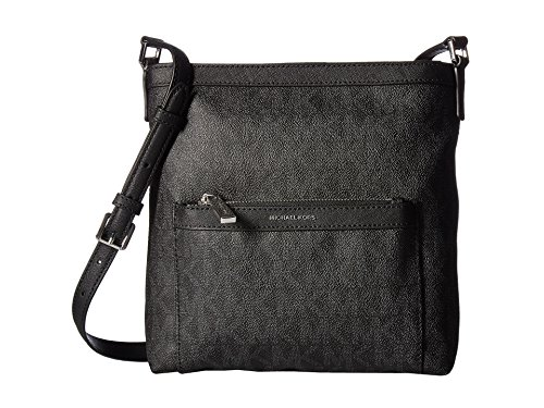 (MICHAEL Michael Kors Women's Morgan Medium Messenger PVC Logo Black Crossbody Bag)
