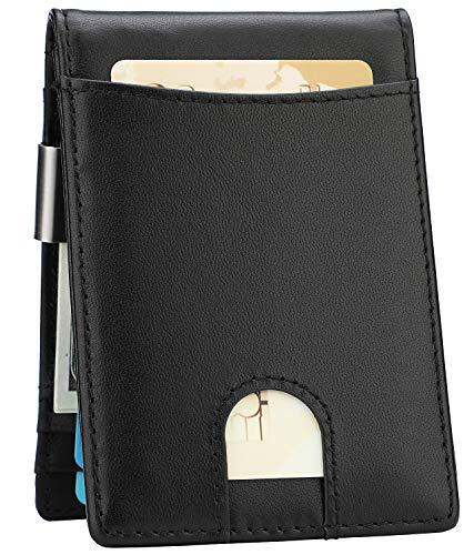 Clip Leather Wallet - Money Clip Wallet - Mens Slim Front Pocket Leather Wallet RFID Blocking Minimalist Mini Wallet (Style 7 - Black/Black)