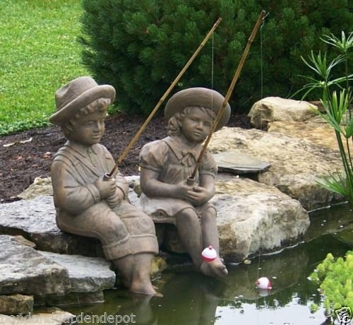 Fishing Boy & Girl Cast Stone Statues-Sculptures- Great G...