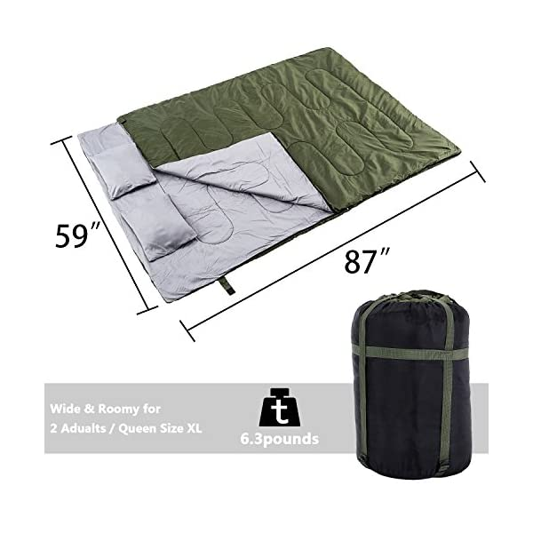 REEHUT Double Sleeping Bag For Camping Backpacking Hiking Tent Camper Outdoor Queen Size XL Two Person Sleeping Bag 32F Lightweight And Compack