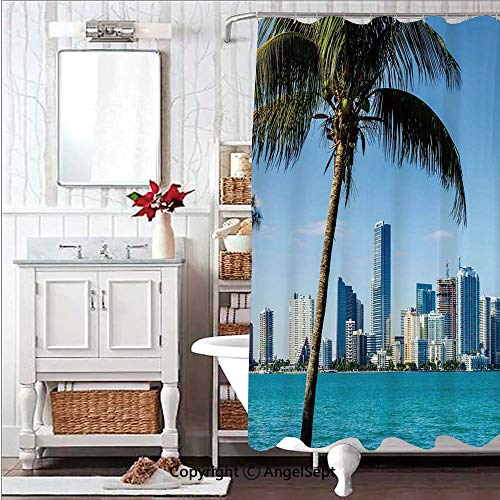 Soft,Non Toxic,Eco-Friendly,No Chemical Odor Shower Curtain Bath Curtain 59x71in Miami Downtown with Biscayne Bay Buildings and Palm Tree PanoramicSky Blue Aqua Green Decorative Design de Plastic C-r