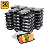microwavable food container lunch - 50-Pack meal prep Plastic Microwavable Food Containers for meal prepping & Tight Safety Lid Covers 28 oz. Black Rectangular Reusable Storage Lunch Boxes -BPA-Free Food Grade -Freezer & Dishwasher Safe