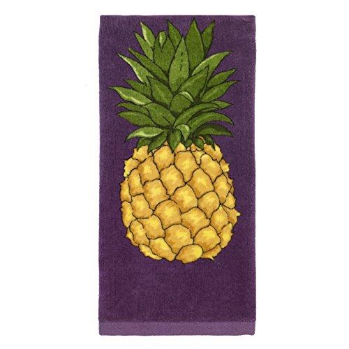 All-Clad Textiles 100-percent Cotton Fiber Reactive Pineapple Print Kitchen Towel, 17-inch x 30-inch, Plum Purple