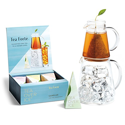 Tea Forte TEA OVER ICE Steeping Tea Pitcher Set and Iced Tea Infuser Sampler Box with 5 Different Tea Blends by Tea Forte