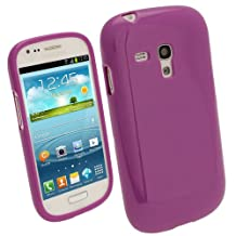 igadgitz Purple Glossy Durable Crystal Gel Skin (TPU) Case Cover for Samsung Galaxy S3 III Mini I8190 Android Smartphone Cell Phone + Screen Protector