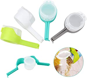 Zwish 4 Pack Food Bag Clips Sealing Clips with Cap Pour Spout Snack Bag Clips for Food and Snack Bag Great for Kitchen Food Storage and Organization Kitchen Tool Home Food Close Clip