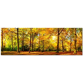 Large Autumn Forest Canvas Wall Art Prints,Autumn Tree Forest Painting  Printed On Canvas, Part 87