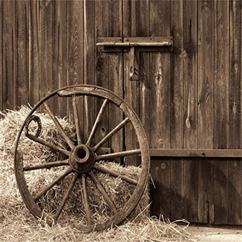 LFEEY 6x6ft Wooden Barn Door Backdrop Western Country Shabby Old Wooden Farmhouse Front Entrance Hay Bale Metal Wagon Wheel Photography Background Travel Photo Booth Props ()