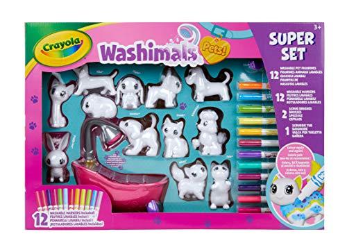CRAYOLA 74-7321-E-000 Washimals Pets Super, Creative Colouring Crafts Kit, Gift Set with Washable Marker Pens, Multi