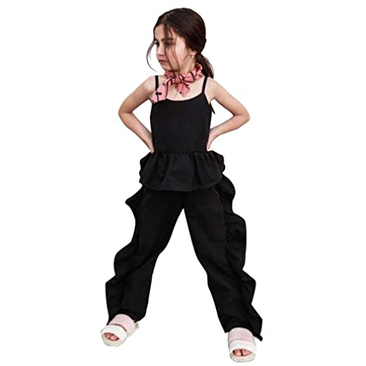 f302860553 Amazon.com  Euone Baby Outfit 0-5 Years Old Girls Ruched Ruffles Jumpsuit  Strap Overalls  Clothing