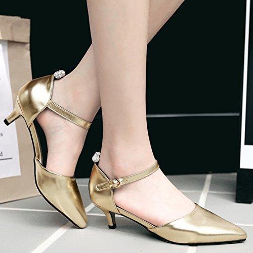 AIYOUMEI Damen Kleiner Absatz Spitz Zehen Pumps mit 5cm Absatz und Schnalle Kitten Heel Schuhe Gold