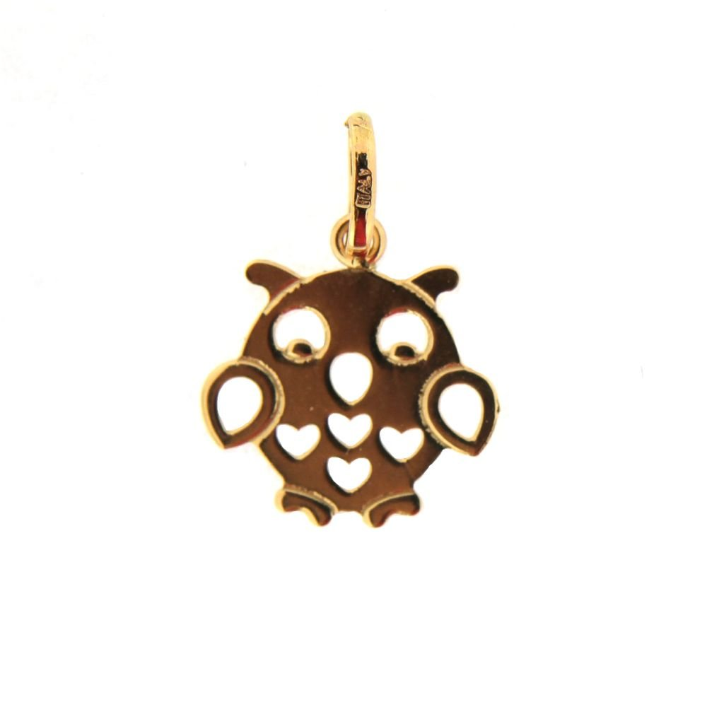 Aprox 0.5 x 0.75 inches with bail. 18K Yellow Gold flat owl with open hearts pendant