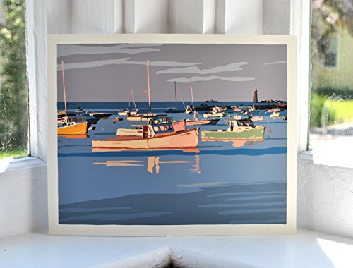 Sunset at Minot's Ledge Light Print (8x10 Giclee Poster, Wall Decor Art)