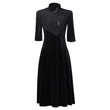 Robe soiree velours dentelle