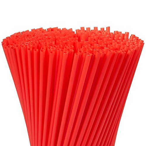 300-Pack Disposable Drinking Straws - Plastic Drinking Straws, Colored Neon Straws, Quarter Inch Opening, 10 x 0.2 (Colored Plastic)
