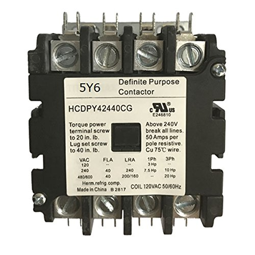 Pole 480vac Coil Single Contactor (Definite Purpose Contactor, 4 Poles, 40A Current Rating, 2 Max HP Single Phase at 115V, 10 HP at 230V, 15 HP Three Phase at 480V, 120VAC Coil)