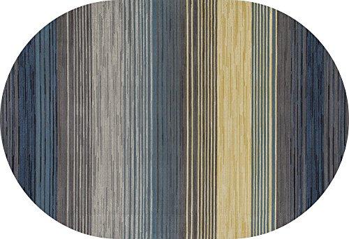 Art Carpet Bastille Collection Heathered Stripe Border Woven Oval Area Rug, 5' x 8', Blue/Yellow/Gray ()