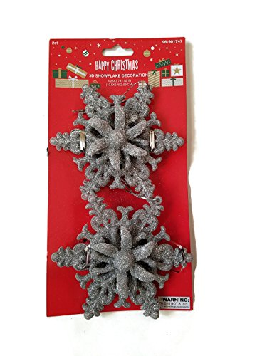 Set of Seven 2 Pack Decorative Silver Glitter Snow Flake Ornaments (14 Total) by Happy Christmas
