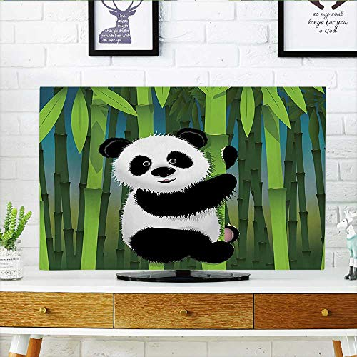 Auraisehome Television Protector Collection Curious Baby Panda on Stem of The Bamboo Bear Jungle Nature Wood Television Protector W32 x H51 INCH/TV 55