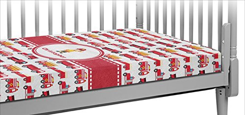 Firetrucks Crib Fitted Sheet (Personalized) - Fire Truck Fitted Crib