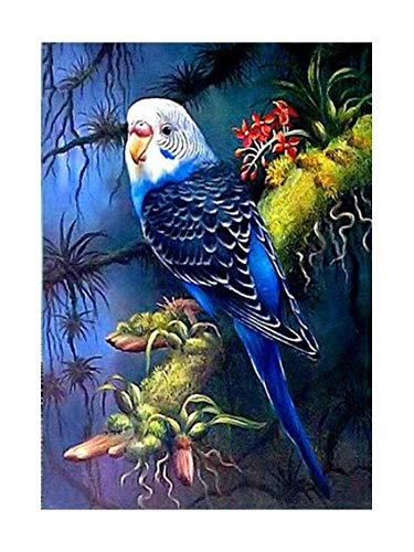 (SuperDecor 5D Diamond Painting Kits Full Drill Diamond Embroidery Painting Art DIY by Number Kits for Home Wall Decor Blue Parrot Stands on The Green Perch Branch)
