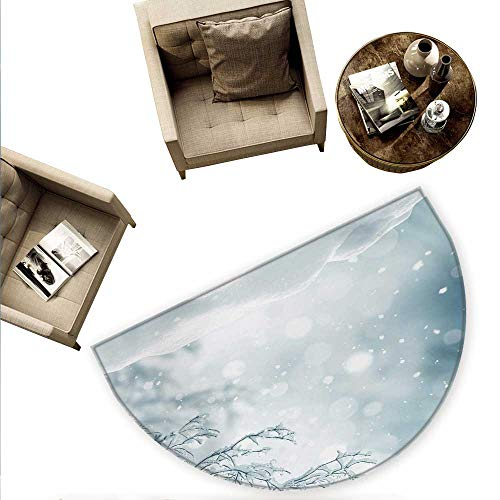 (Winter Semicircular Cushion Christmas Image Snow and Frosted Tree Snowflakes Winter Season Illustration Entry Door Mat H 63