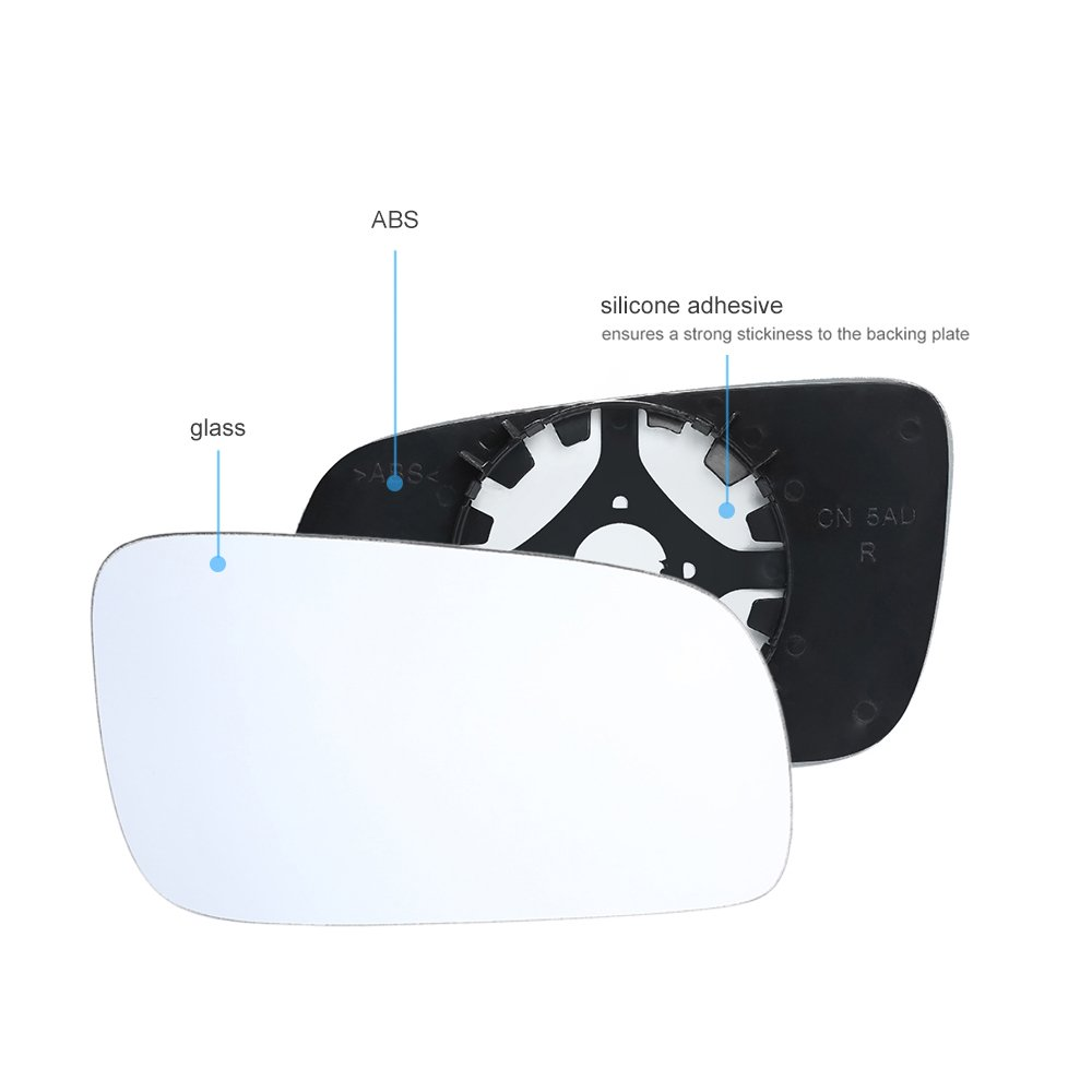 KKmoon Driver Passenger White Side Mirror Replacement Mirror Glass