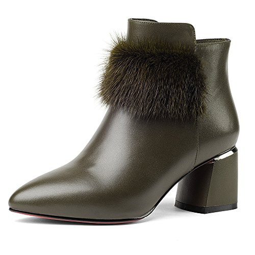 Style Nine Toe Chunky Genuine Women's Seven Leather Fur Ankle Heel Handmade Pointed Green Boots with Army 88wfX
