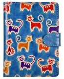 SAAGA Embossed and Hand Painted Leather Passport Holder with Cat Motifs/Handmade : 5.25x4 inches (LxB)