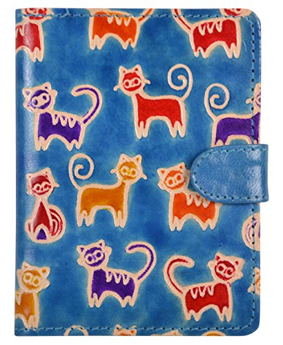 SAAGA Hand Painted Leather Passport Holder with Cat Motifs / Handmade : 5.25×4 inches (LxB) Ideal for Standard Passport