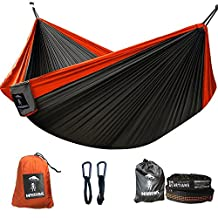 Double Camping hammock with straps With Camping Equipment included - Stuff Sack, 2 Carabiners, and 2 Tree Straps