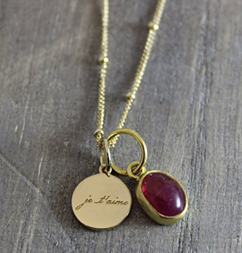 Pink Tourmaline Gemstone Je'taime I Love You Charm Pendant 14kt Gold Filled Necklace 18 inches Graduation gift (14kt Rose Pendant)