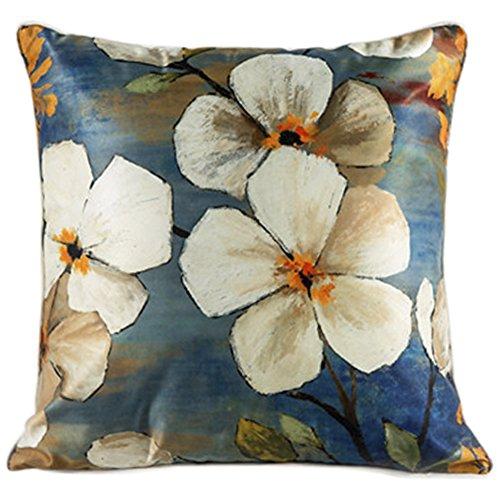 ChezMax Faux Silk Blend Big Sakura flower Pattern Sofa Seat Cushion Cover Cotton Pillowslip Square Decorative Throw Pillow Case 20 X 20'' Silk Square Cushion