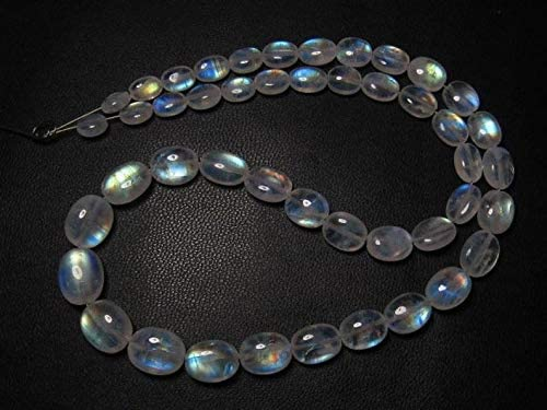Jewel Beads Gems-Jewellery Awesome - AAAA - High Quality So Gorgeous - Rainbow MOONSTONE - Smooth Oval Briolett Blue Fire size - 5.5-10 mm - 14 Inches