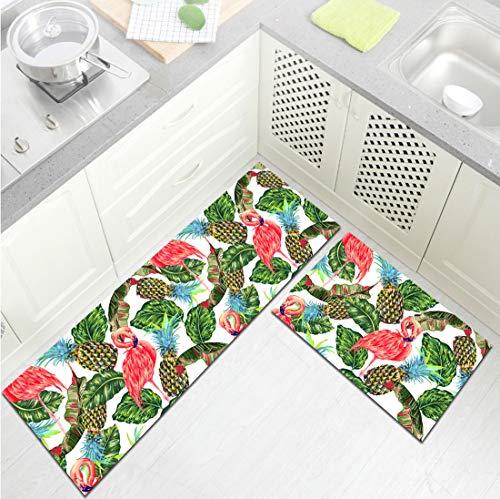 HVEST 2pcs Tropical Flamingo Area Rug Set Banana Leaves and Pineapple Carpet Non-Slip Runner Rug for Living Room Bedroom Kitchen Floor Mat,(1'4