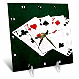 3dRose Alexis Photo-Art - Poker Hands - Poker Hands Four Of A Kind Seven Two - 6x6 Desk Clock (dc_270306_1)