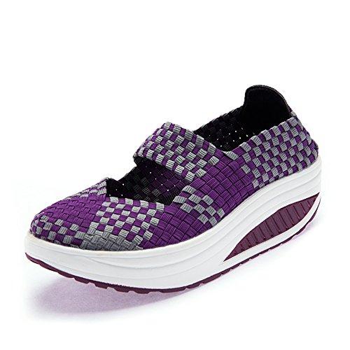 Purple B Weave Shoes 809huizi39 7 Women Walking US Toning SDF EnllerviiD Fitness Work Out Jane M Mary Sneakers ZWg8Oqn