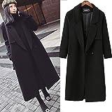 ZRLsly Thick Wool Coat Woolen Winter Women'S Long Cocoon Coat Girl Female Knee M Black