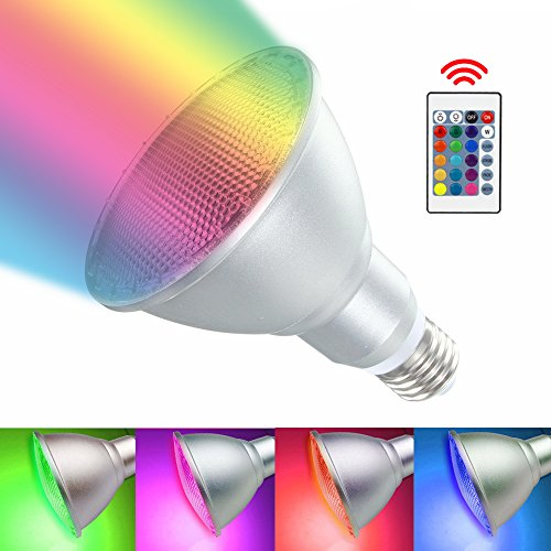 Led Spotlight Outdoor RAYWAY E27 PAR30 10W RGB Dimmable Light Bulb 16 Color Changing with IR Remote Control for Home, Living Room, Party Decoration Waterproof Floodlight