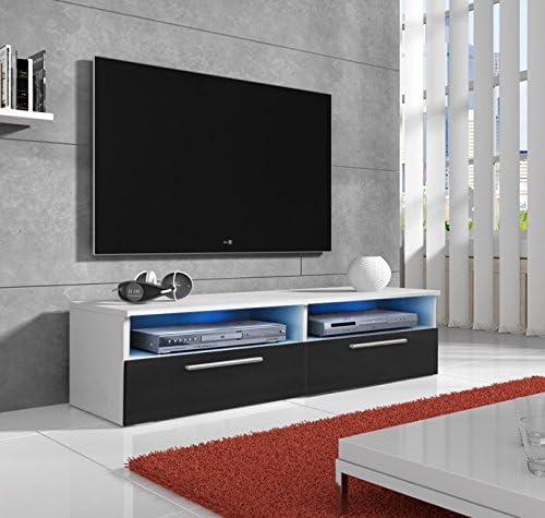 muebles bonitos Mueble TV Modelo Cozumel en Blanco y Negro con Led