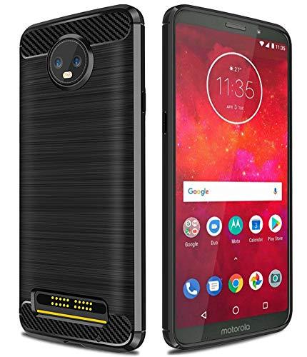 Moto Z3 Case, Moto Z3 Play Case, Asmart Resilient Shock Absorption Motorola Moto Z3 Case Slim Carbon Fiber Cover Flexible TPU Protective Phone Case for Motorola Moto Z3 Play (Black) (Compare Moto Z And Moto Z Play)