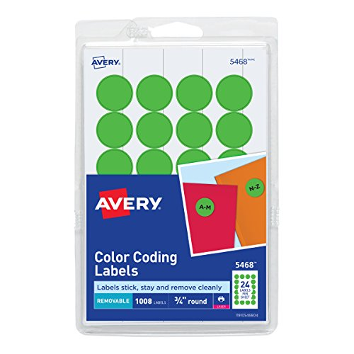 (Avery Print/Write Self-Adhesive Removable Labels, 0.75 Inch Diameter, Green Neon, 1008 per Pack (5468))