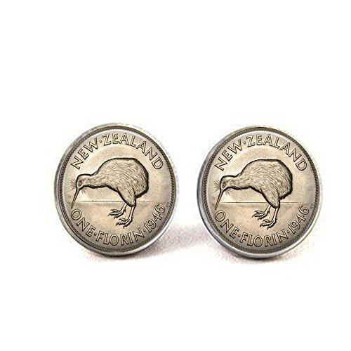 luobdj New Zealand Kiwi Earrings - Florin Earrings - Coin Earrings - Image of a Vintage New Zealand Florin Bird 1946