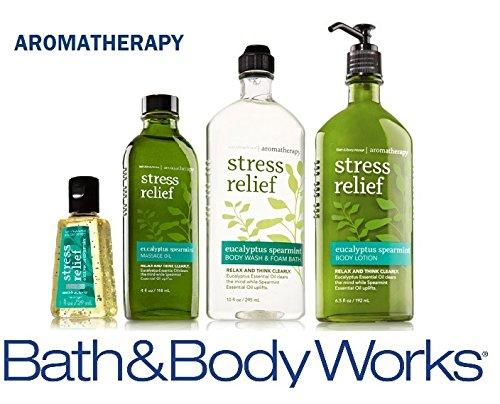 [Bath & Body Works Aromatherapy Gift Set Eucalyptus Spearmint Body Lotion ~ Body Wash & Foam Bath ~ Massage Oil & Small Sanitizing Hand Gel] (Eucalyptus Spearmint Fragrance Oil)