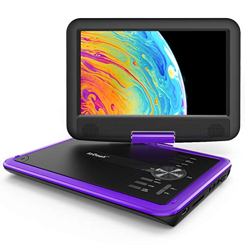 ieGeek 11.5 inch Portable DVD Player with 5h Rechargeable Battery, SD Card/USB & AV-in/Out Port, 360° Swivel Screen, Support Resume Function, Region Free, Purple