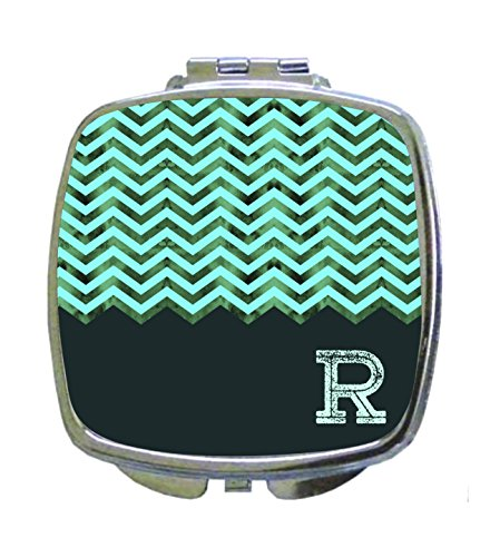 Aqua Mesh Chevron Rosie Parker Inc. CUSTOMIZABLE Compact Mirrors- Square - Parker Mesh